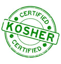 Grunge green kosher certified word round rubber vector