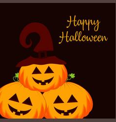 halloween pumpkins on dark vector image