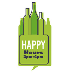 happy hour with green bottles alcohol and time vector image