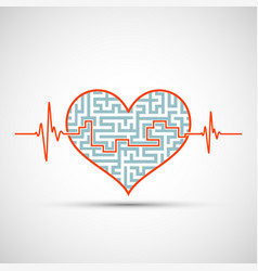 Heart with a maze and line electrocardiogram vector