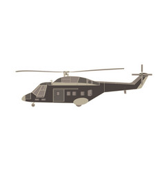 helicopter flat icon isolated transport design vector image