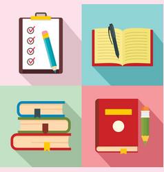 homework study school icons set flat style vector image