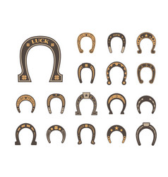 horseshoes good luck set metallic stylish retro vector image