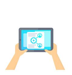 Hr management software tablet in hands vector