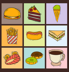 icons sweet fast food hand drawn restaurant vector image