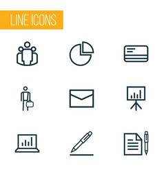 Job outline icons set collection of businessman vector