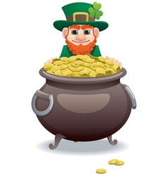 leprechaun and pot gold vector image