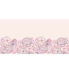 Line art flowers horizontal seamless pattern vector image