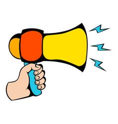 male hand holding loudspeaker icon icon cartoon vector image