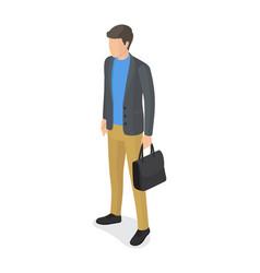 Man in gray jacket beige trousers black briefcase vector
