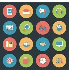 Marketing flat icons set vector image