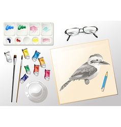 Materials used when painting vector image