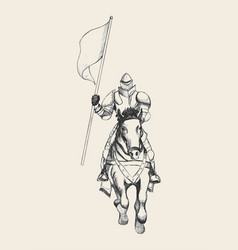 Medieval knight on horse carrying a flag vector