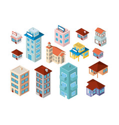 mini set buildings isometric icons vector image