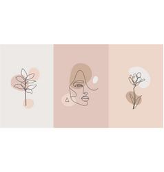 Minimalist style portrait line plant vector