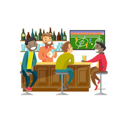 multiethnic people watching football at sport bar vector image