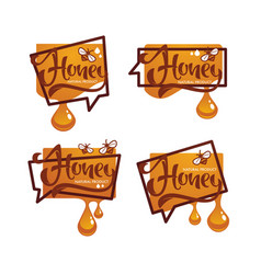 natural honey sticker symbol logo label vector image
