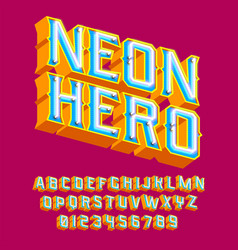 Neon hero - 3d vintage letters with lights vector