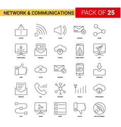 Network and communication black line icon - 25 vector