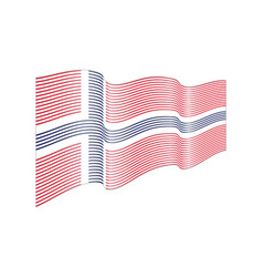 norway flag on white background wave strip vector image