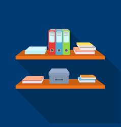 Office shelves with file folders icon in flat vector