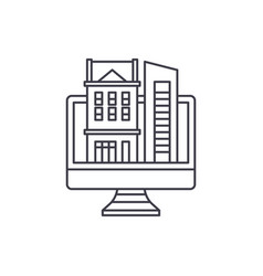 Online database of real estate line icon concept vector