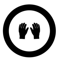 pair work of gloves icon black color in circle vector image