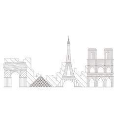Paris cityscape outline vector