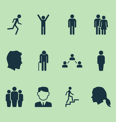 Person icons set collection of happy ladder vector
