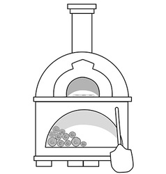 Pizza oven outline drawins vector
