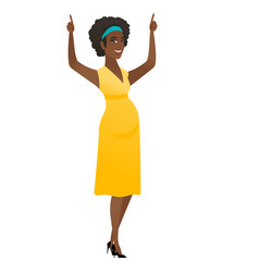 Pregnant woman standing with raised arms up vector