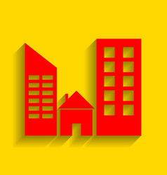 real estate sign red icon with soft vector image
