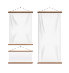 Realistic white textile banners with folds vector