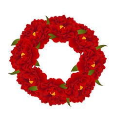 red peony flower wreath vector image