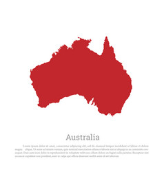 Red silhouette of continent australia vector