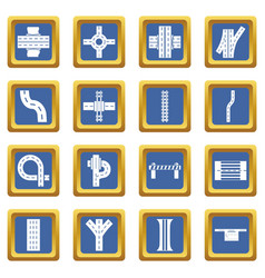 Road parts constructor icons set blue square vector