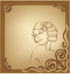 roaring 20-s art nouveau background with blond vector image
