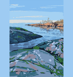 Rocky shore gulf vector