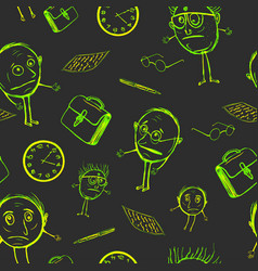 Seamless pattern of office plankton vector