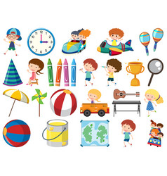 Set isolated objects theme school vector