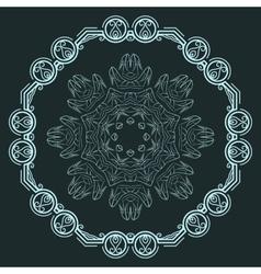 Set of two elegant filigree round patterns vector image
