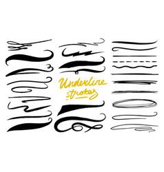Set of underline marker brush artistic lines and vector