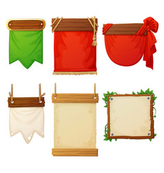 Set wooden banners with decorative cloth flags vector