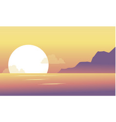 silhouette of hill and lake at the morning scenery vector image