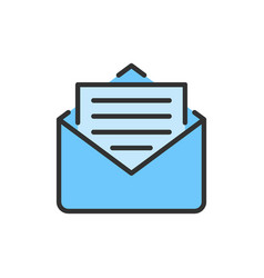 sms message email flat color line icon vector image