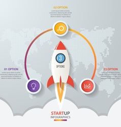 Startup circle infographics with rocket 3 options vector image
