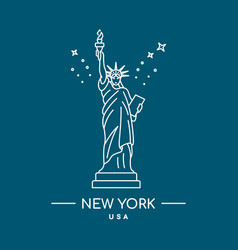 statue of liberty line art new vector image