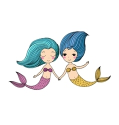 Two little cartoon mermaid Siren vector image