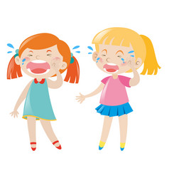 two unhappy girls crying vector image
