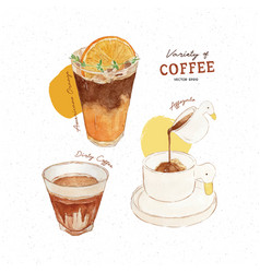 Variety coffee hand draw watercolor vector